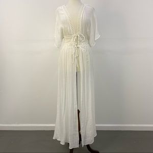 NWT Aakaa White Long Tie Front Swim Maxi Coverup